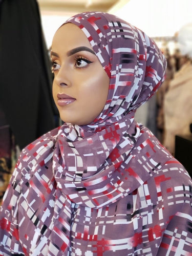Chiffon Print Hijab - Lavender/Red/White Stripes
