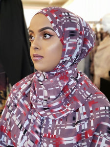 Chiffon Print Hijab - Lavender/Red/White Stripes - ZIZI Boutique