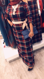 Navy Blue + Red Checkered Dress