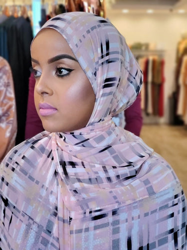 Chiffon Print Hijab - Pink/Grey/Black Stripe - ZIZI Boutique