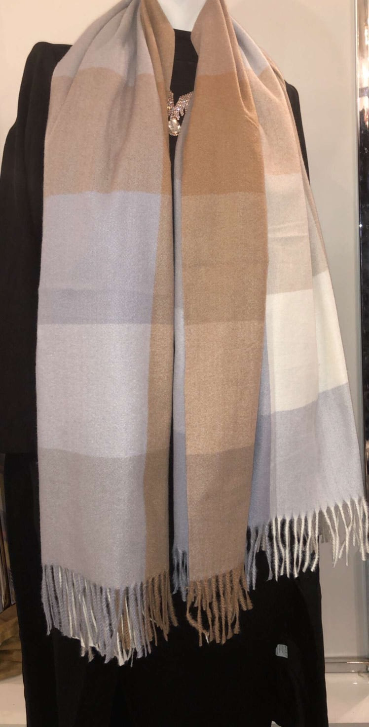 Winter Scarf - White/Tan/Biege Checkered