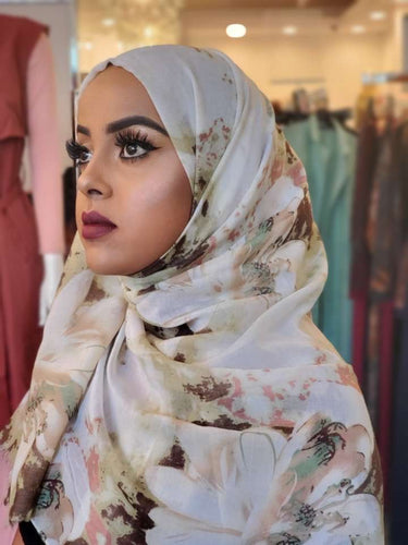 Cotton Print Hijab - Green/Brown Flowers - ZIZI Boutique