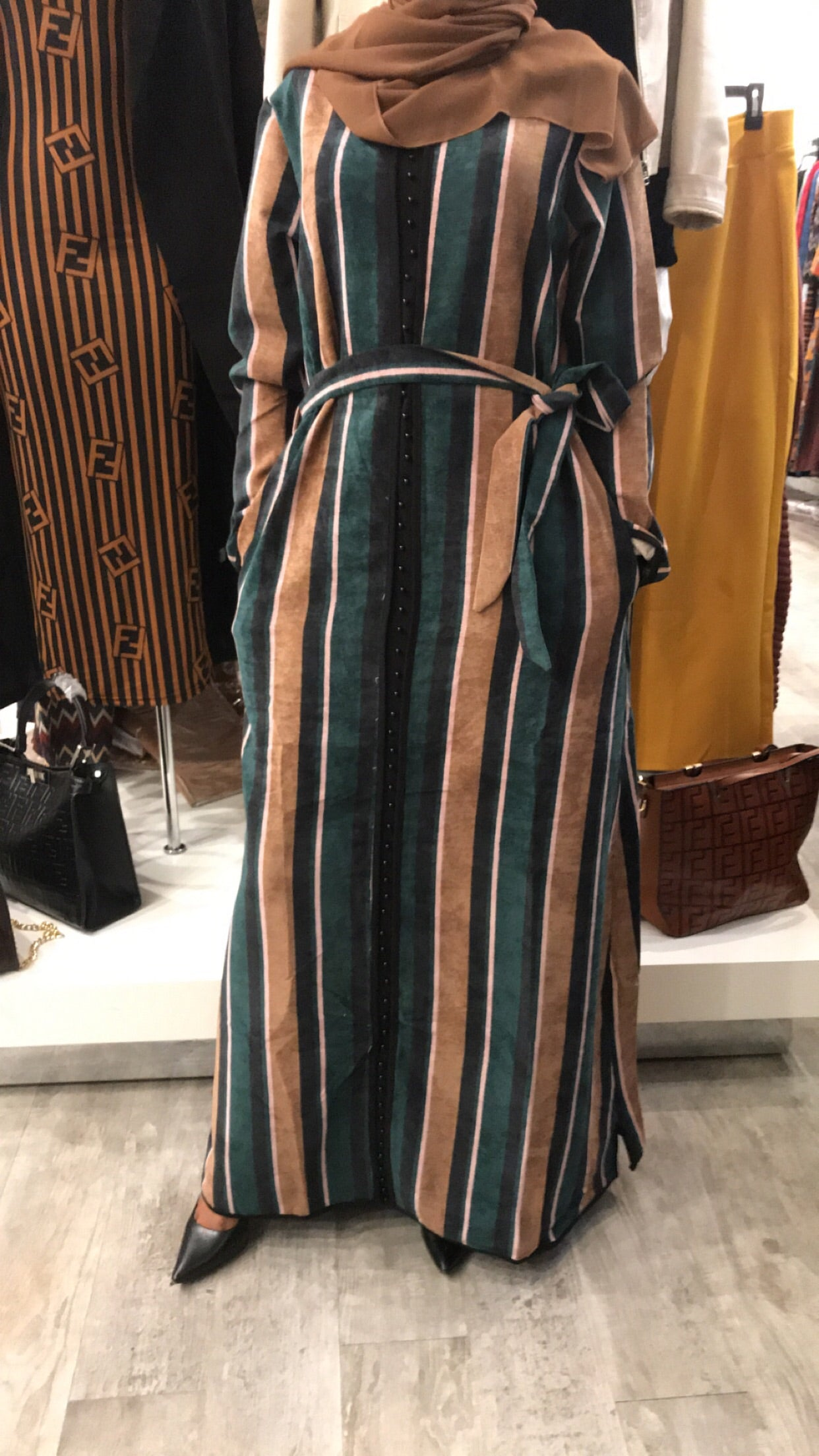 Winter Button Dress - Green / Black / Brown Stripe - ZIZI Boutique
