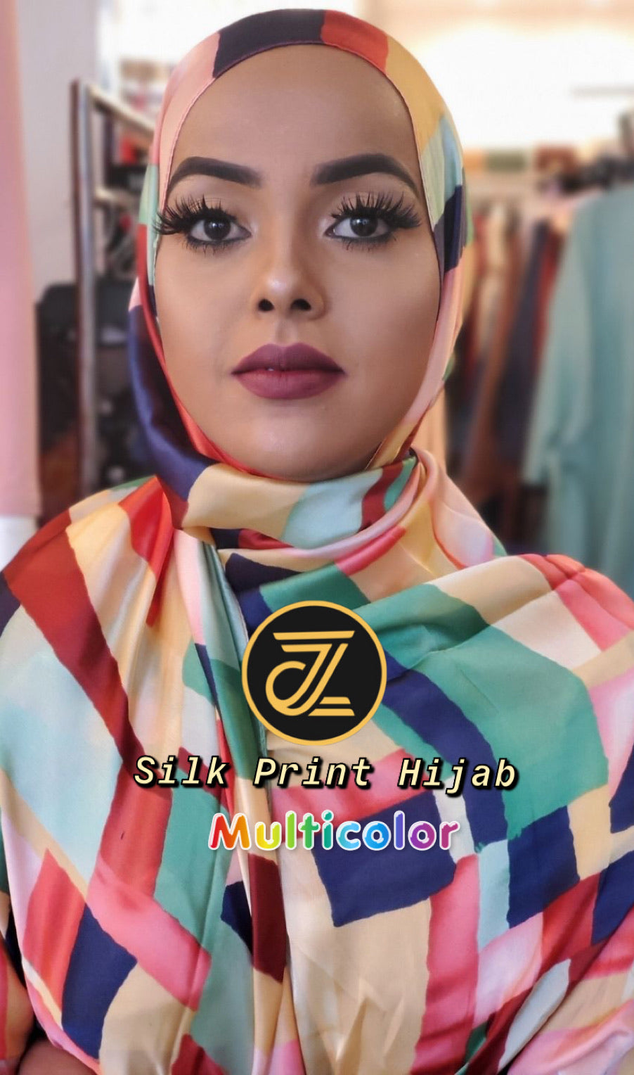 Silk Print Hijab - Multicolor - ZIZI Boutique
