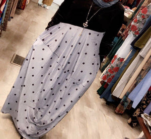 Velvet Top Dress - Blue Silver Polka Dot - ZIZI Boutique