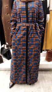 Winter Button Dress - Blue + Brown Box Print - ZIZI Boutique