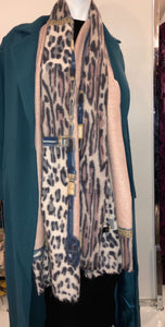 Winter Scarf - Pink Leopard Print - ZIZI Boutique