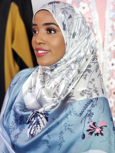 Silk Print Hijab - Powder Blue/Grey/Pink Flowers