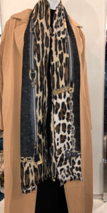 Winter Scarf - Black Leopard Print - ZIZI