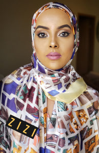 Silk Print Hijab - Yellow Multicolor Box Print - ZIZI Boutique