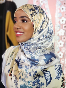 Silk Print Hijab - Canary Yellow/Blue Flower - ZIZI Boutique