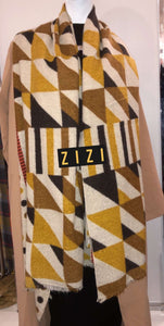 Winter Print Scarf - Yellow/Brown/Black - ZIZI