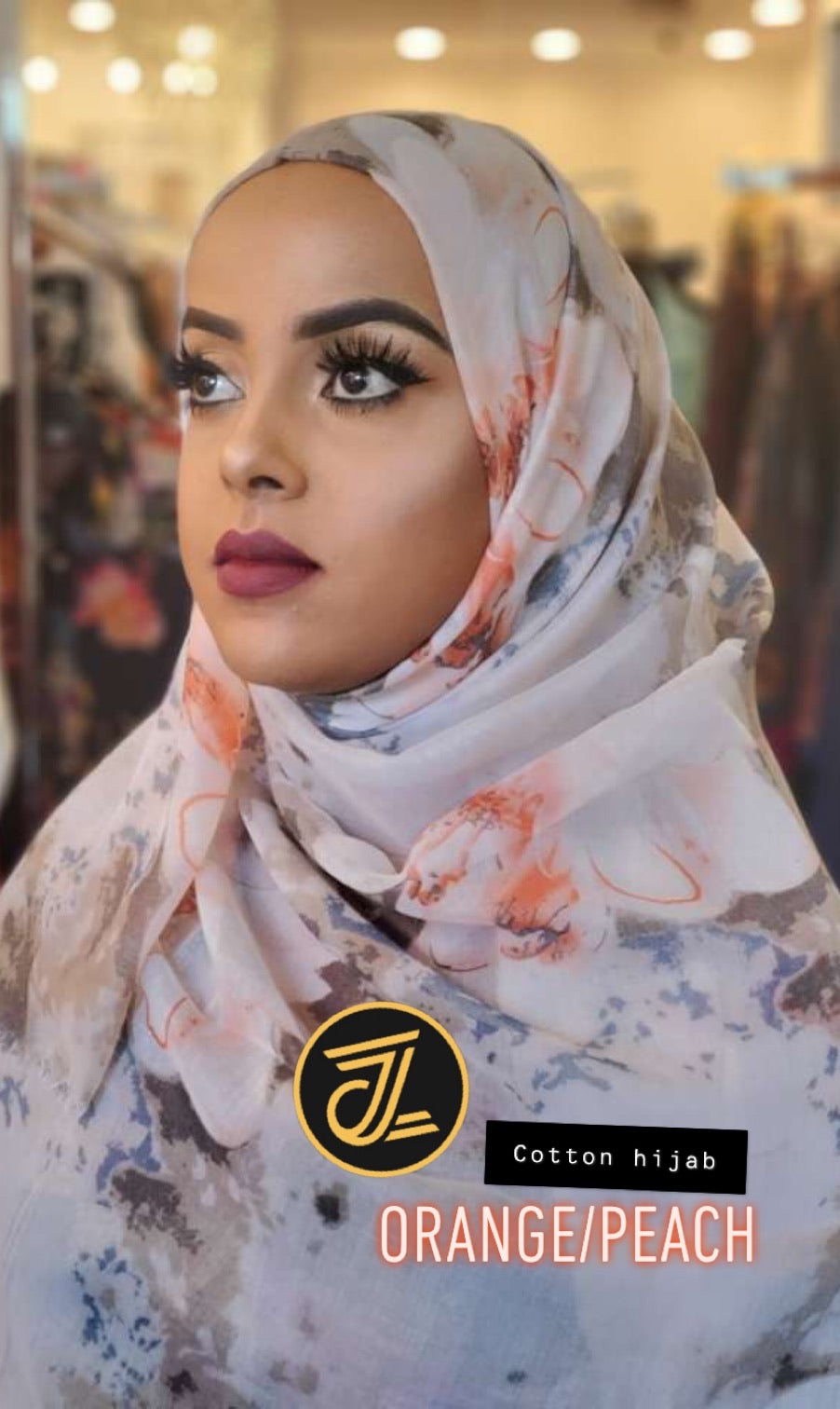 Cotton Print Hijab - Orange/Peach Flowers - ZIZI Boutique