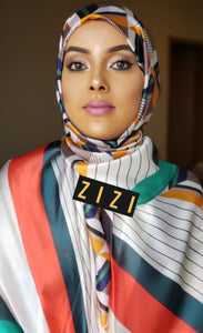 Silk Print Hijab - Green/Orange Stripes - ZIZI Boutique