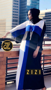 Tri Color Cape Dress - Black/Blue/White