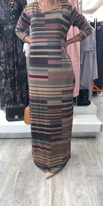 Light/Dark Brown/Pink Peach Stripe Dress