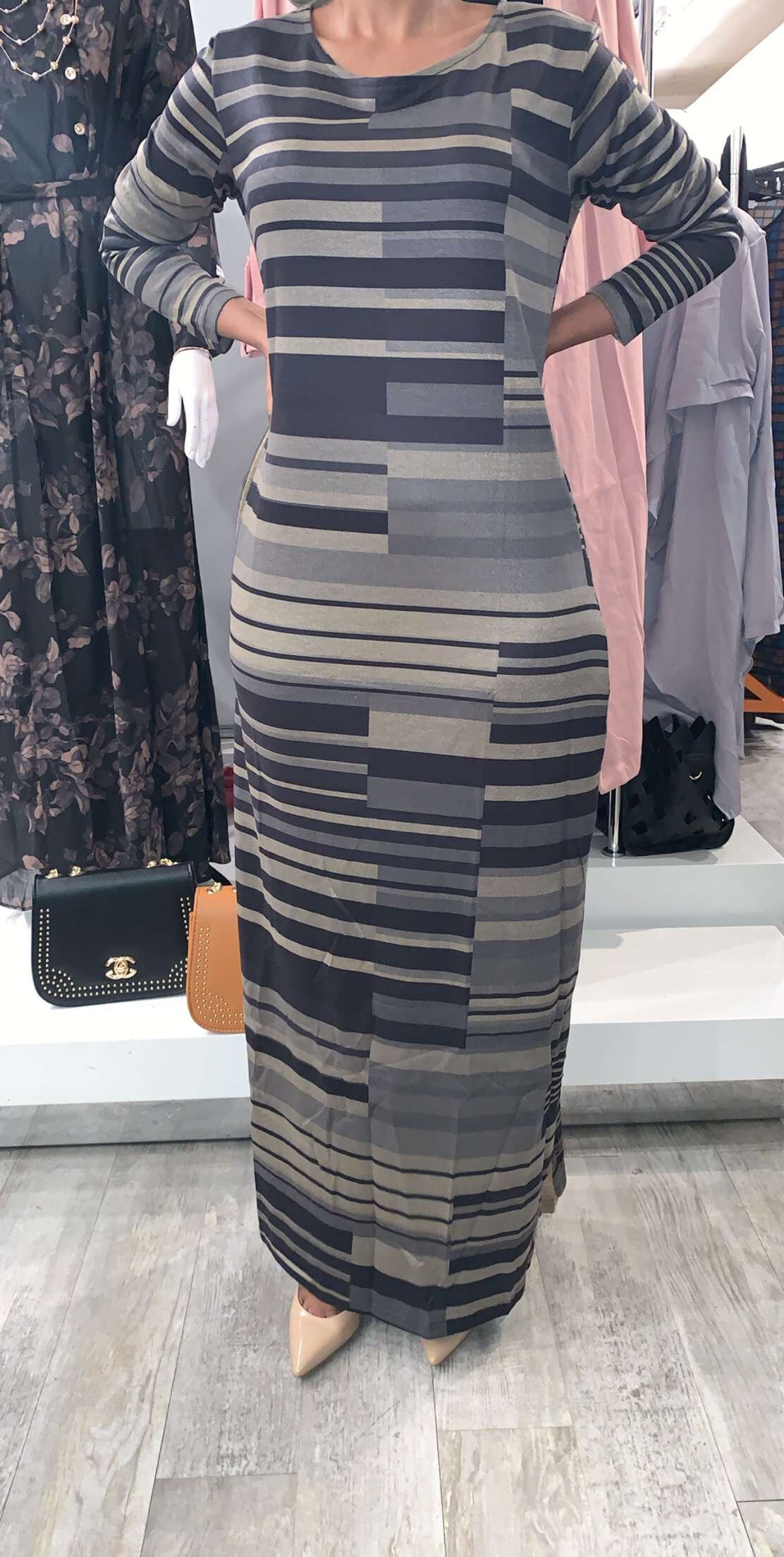 Grey/Taupe/Black Stripe Dress - ZIZI Boutique