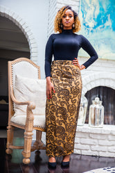 Olive Green Lace Evening Skirt