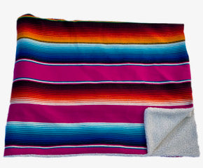 Saltillo Serape Blanket with Sherpa Lining - Pink