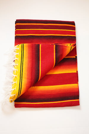 Saltillo Serape Blanket - Red & Yellow Two Tone