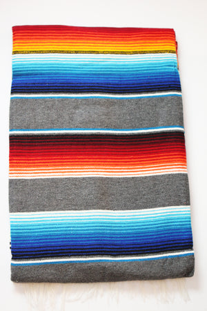 Saltillo Serape Blanket - Grey