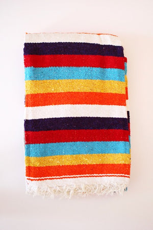 Diamante Blanket- White multi rainbow