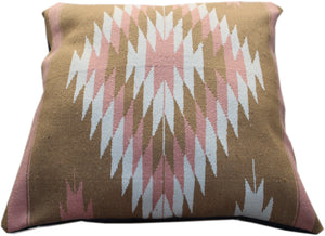 Diamante large square pillow bed- pink/white/tan