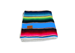 Saltillo Serape Blanket with Sherpa Lining - Light Blue