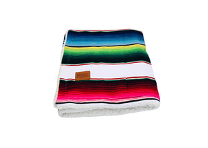 Saltillo Serape Blanket with Sherpa Lining - White