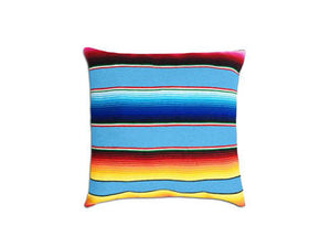 Saltillo Serape Square Home Pillow- Light Blue