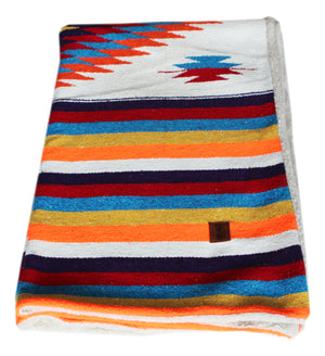 Diamante Blanket with Sherpa Lining - White multi rainbow