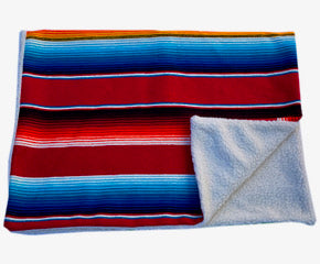 Saltillo Serape Blanket with Sherpa Lining - Red