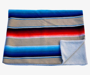 Saltillo Serape Blanket with Sherpa Lining - Tan