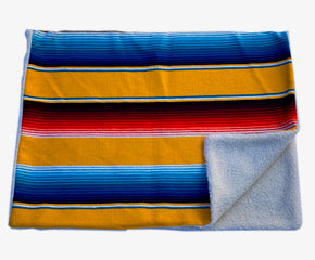 Saltillo Serape Blanket with Sherpa Lining - Yellow