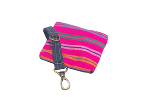 Denim Pouch Pink Striped