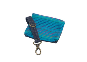 Denim Pouch Teal Striped