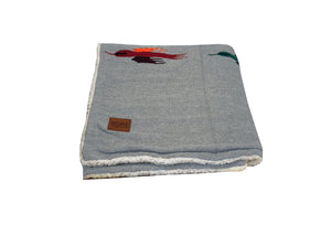 Thunderbird Blanket with Sherpa Lining - Grey