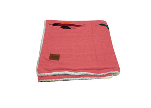 Thunderbird Blanket with Sherpa Lining - Red