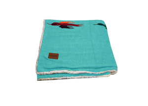 Thunderbird Blanket with Sherpa Lining - Teal