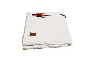 Thunderbird Blanket with Sherpa Lining - White
