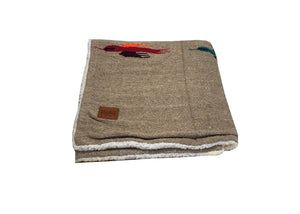Thunderbird Blanket with Sherpa Lining - Tan