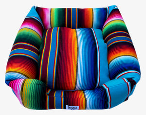 Saltillo Serape Bumper Bed- Light Blue