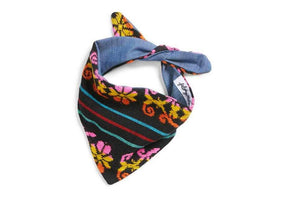 Patterned Floral Bandana- Black