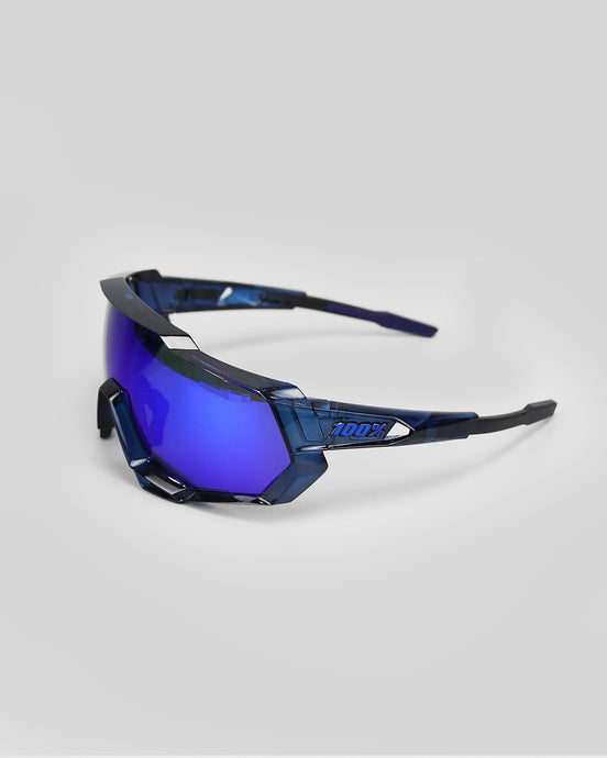 100% Speedtrap Pol. Translucent Blue - Electric Blue Mirror Lens