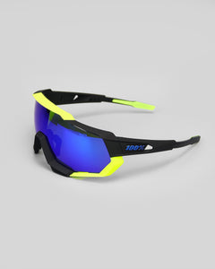 100% Speedtrap Pol. Black/Neon Yellow - Electric Blue Mirror Lens