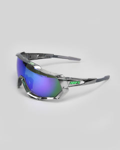 100% Speedtrap Chrome. Gunmetal P2 - Green Multilayer Mirror Lens