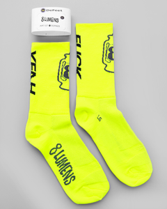 Defeet 8Lumens Fuck Yeah Neon Yellow Socks