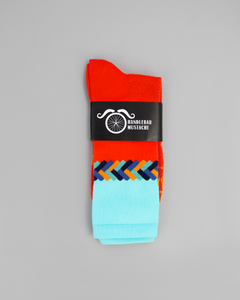 Handlebar Mustache Twisted Orange Socks