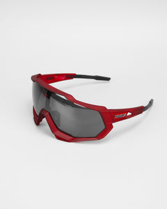 100% Speedtrap Matte Red/Matte Black - Black Mirror Lens