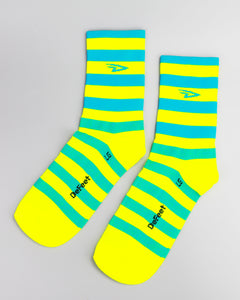 Defeet - Logo Striper Process Blu/Hi Vis Yellow Socks